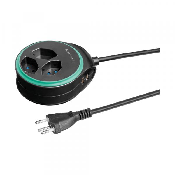 Runde Steckdosenleiste mit USB-Anschluss